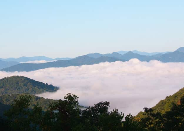 above the clouds on mountain