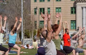 outdoor yoga group
