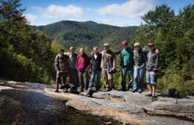 group of recovery residents on mountain top